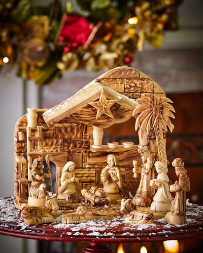 Olive Wood Nativity, 12 Piece