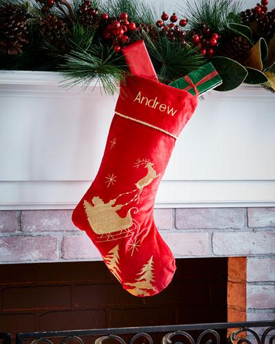 Santa's Sleigh Velvet Stocking