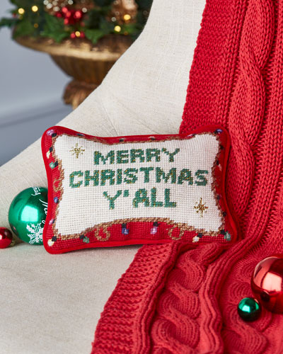 C & F Enterprises Merry Christmas Y'all Needlepoint Pillow