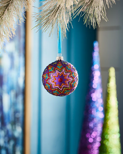 Playful Brights Collection Matte Purple/Stars Ornament