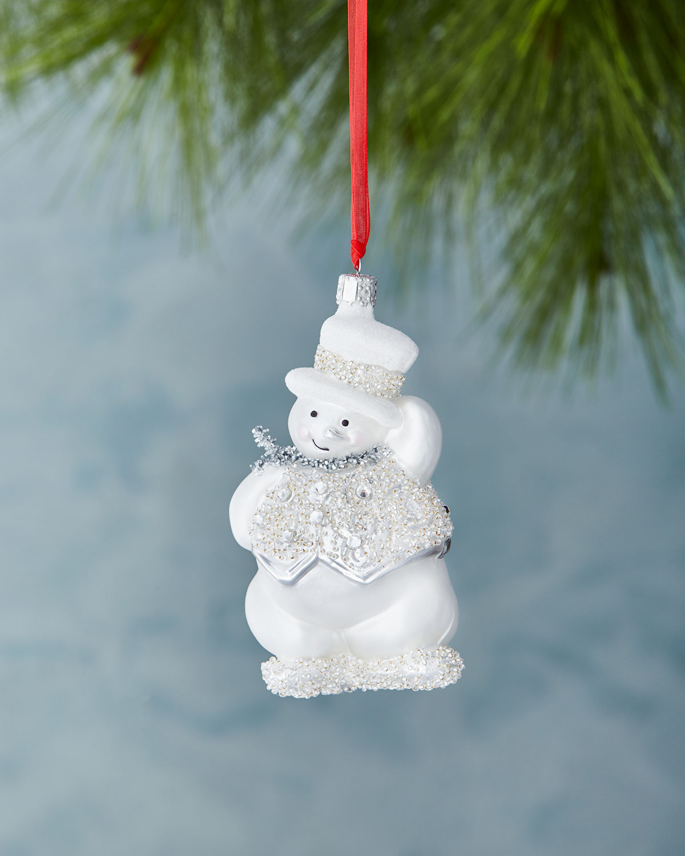 Glitz & Glam Snowman Christmas Ornament