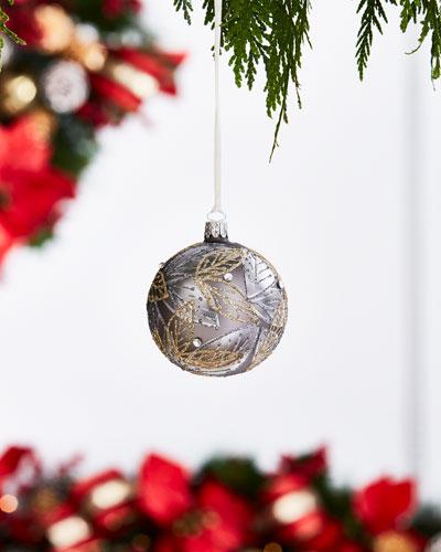 White & Silver Collection Matte Gray/Glitter Leaves Ornament