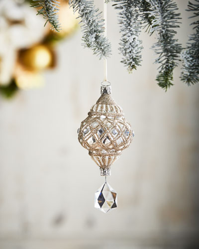 White & Silver Collection White Drop/Faux-Jewel Ornament