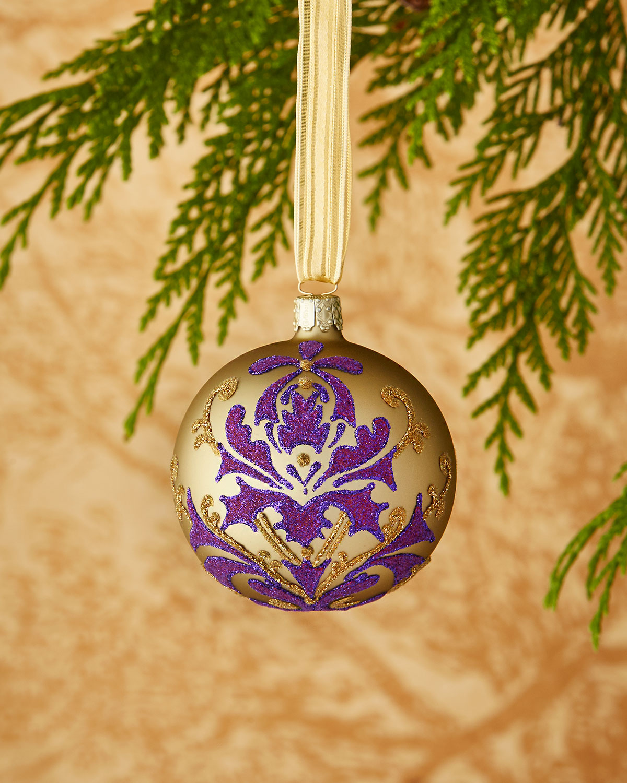 Gold/Purple Flowers Christmas Ornament