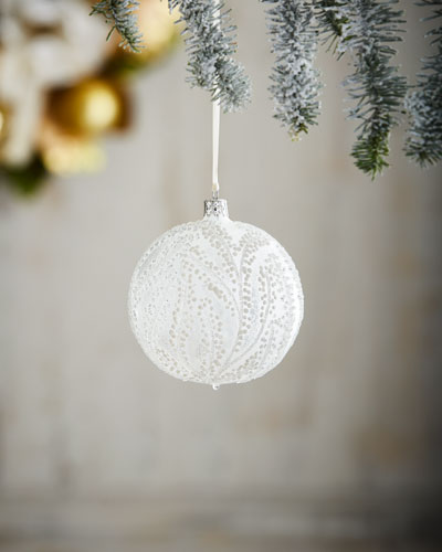 White & Silver Collection Clear/Snowy Trees Ornament