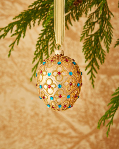 Red & Green Collection Golden Egg Ornament with Flowers