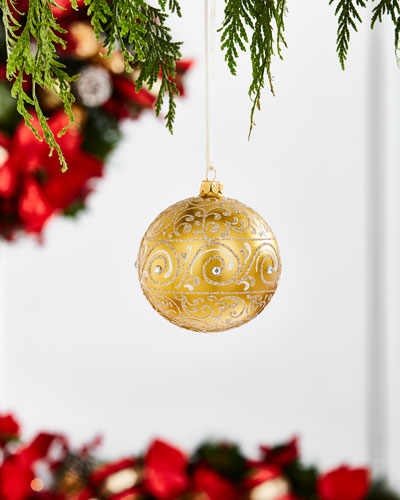 Gold & Glitter Collection Golden Glitter Damask Ornament