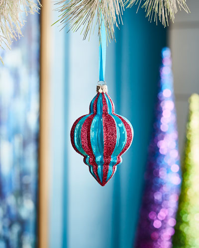 Playful Brights Collection Pink/Blue Ribbed Finial Ornament