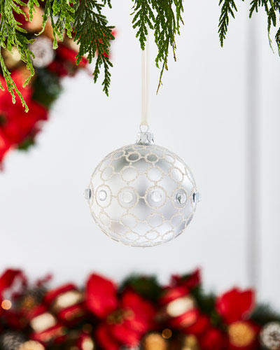 White & Silver Collection Matte Silvery/Circles Ornament