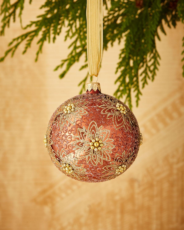 Coppery/Glitter-Flower Ornament