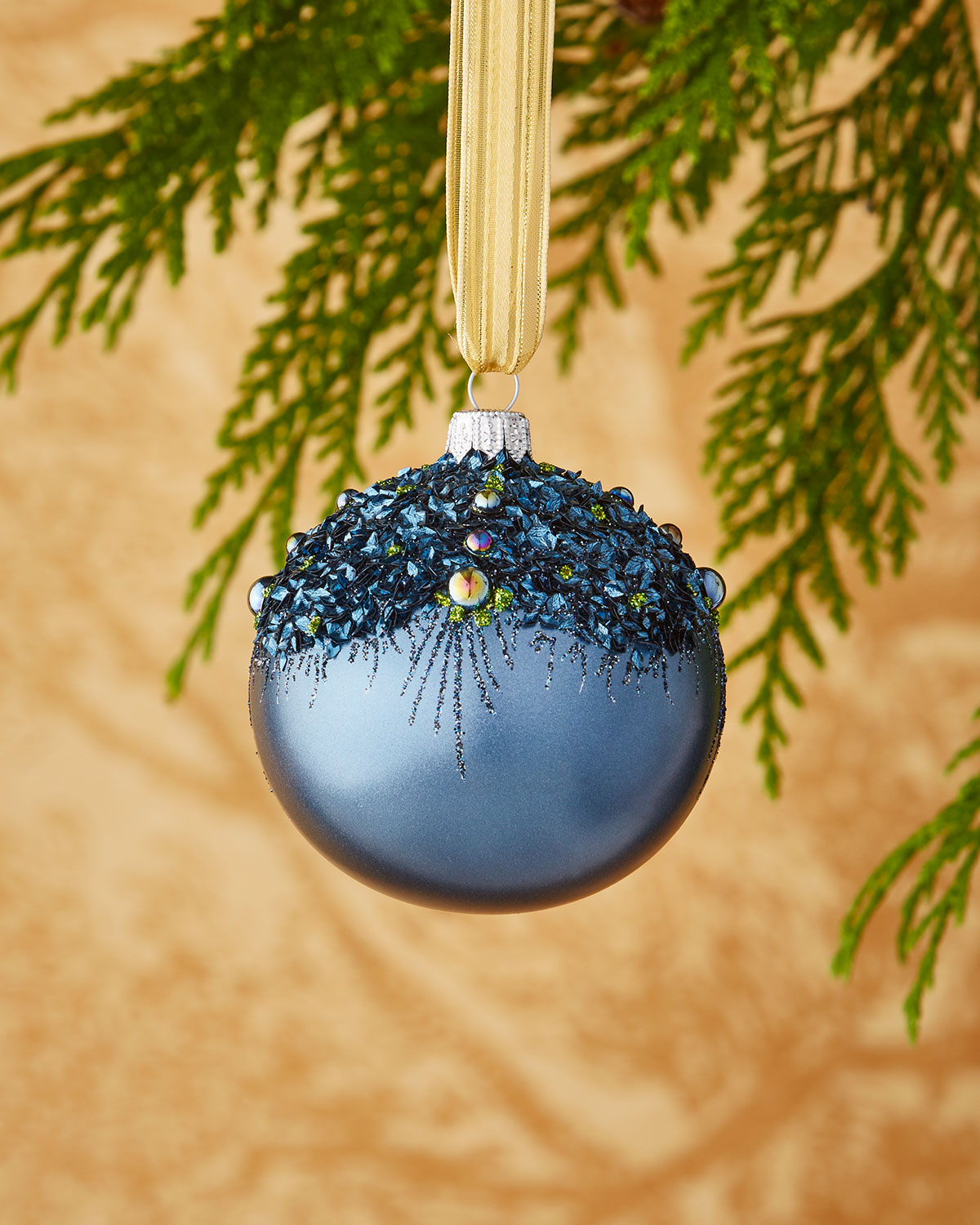 Iridescent Blue/Chunky Glitter Ornament