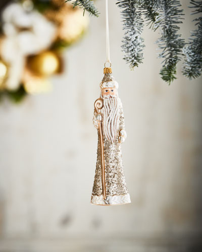Gold & Glitter Collection Slim Santa Ornament