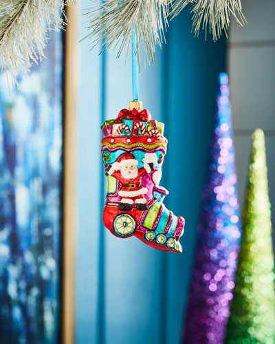 Playful Brights Collection Santa in Train Stocking Ornament