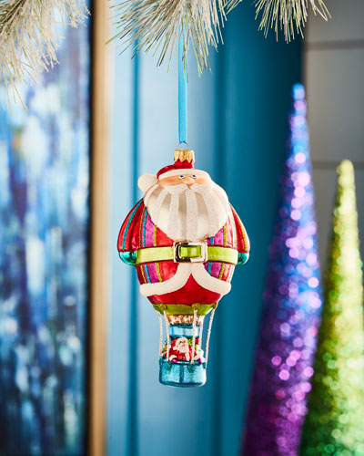 Playful Brights Collection Hot Air Balloon Santa Ornament