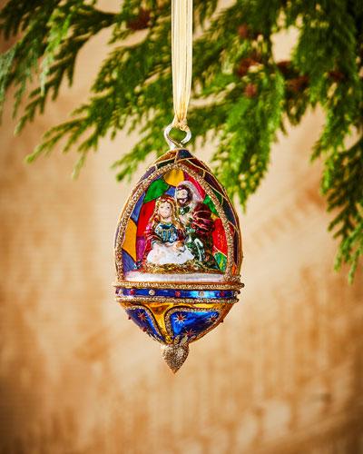 Holy Family in Stained Glass Ornament