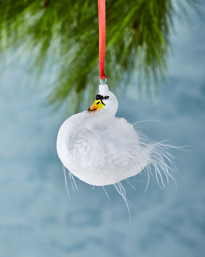 Swan Christmas Ornament with Feathers