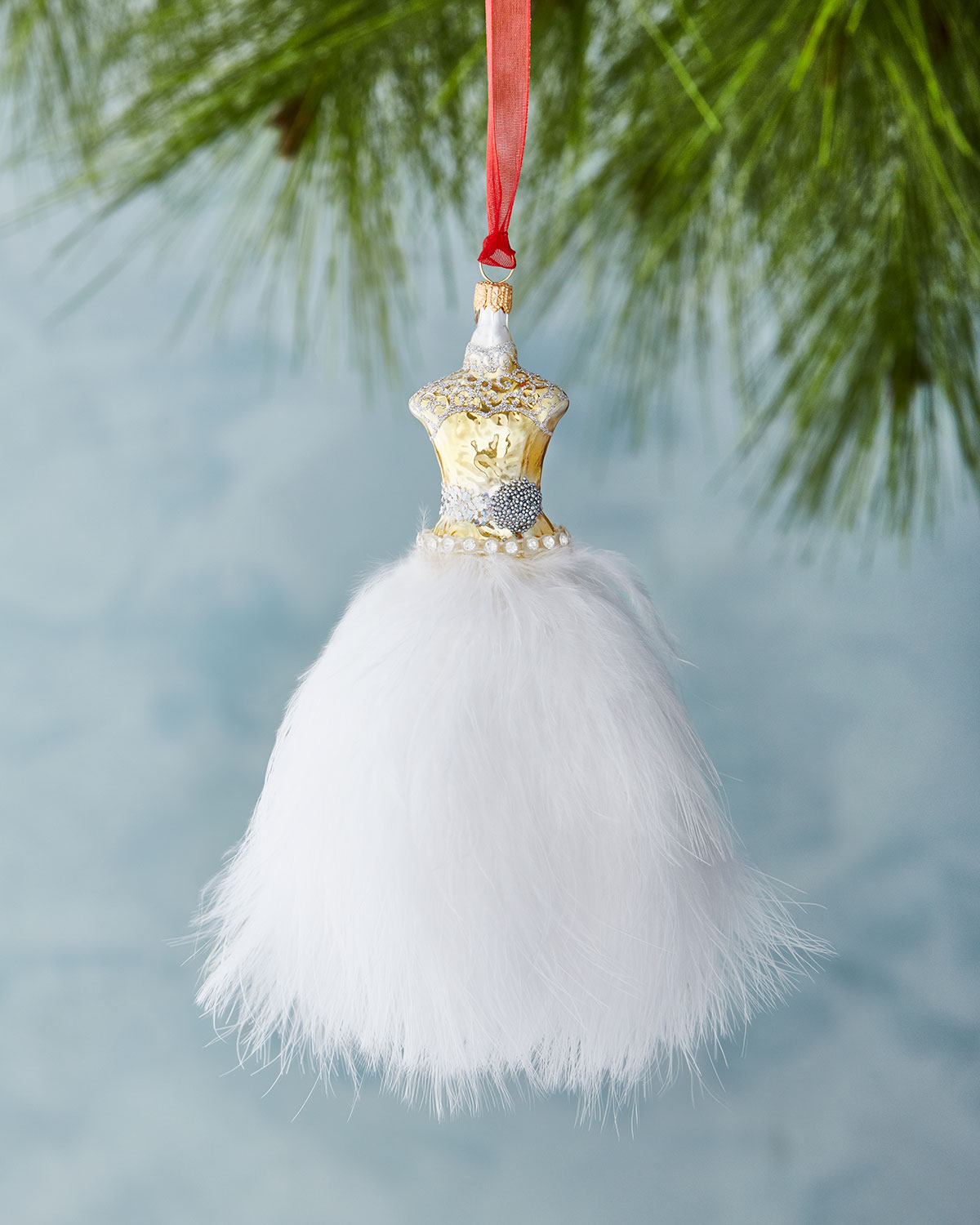 Dress Christmas Ornament with Feathers