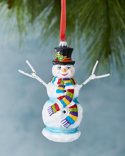 Snowman with Striped Scarf Ornament