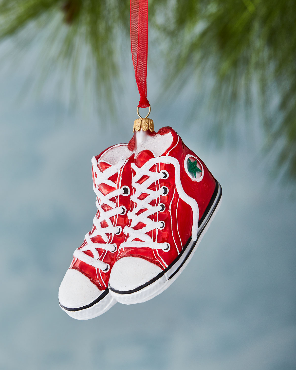 Red High-Top Sneaker Christmas Ornament