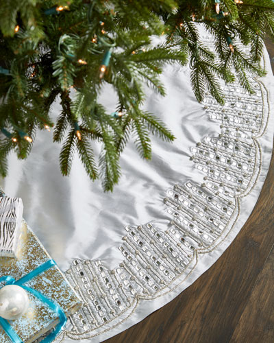 White & Silver Collection Christmas Tree Skirt
