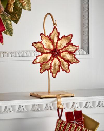 Janice Minor Flower / Red Glitter Stocking Holder
