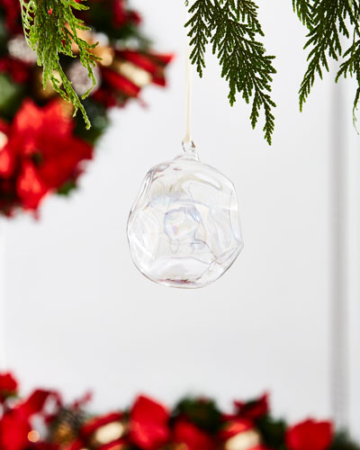 White & Silver Collection Iridescent Ball Ornament, 4