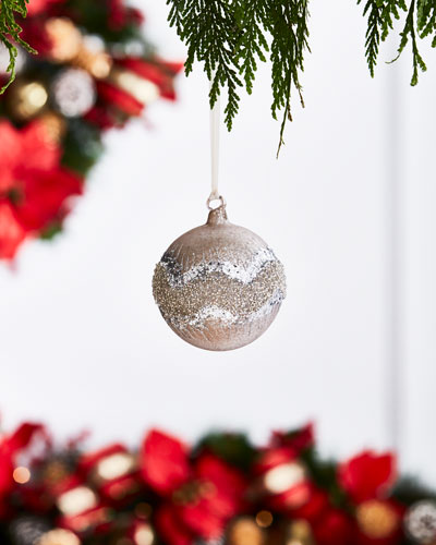 White & Silver Collection Matte Mocca Beaded Ball Ornament, 4.75