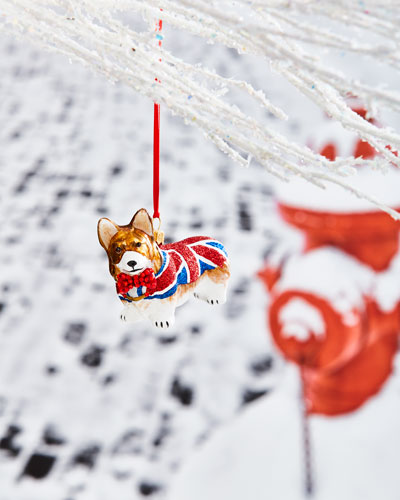 Pembroke Corgi in Union Jack Coat Ornament