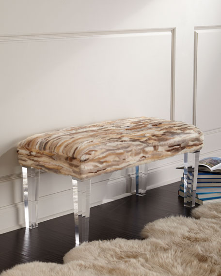 Massoud Leta Mink and Acrylic Bench
