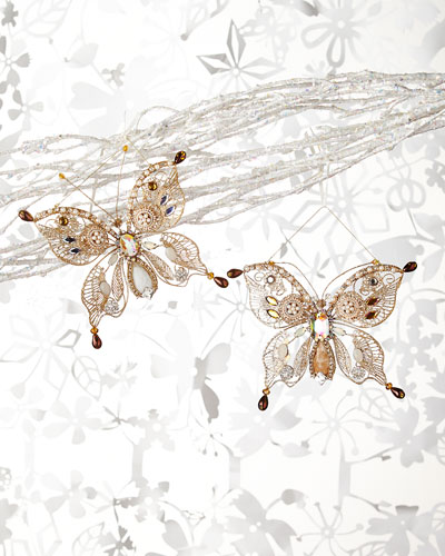 Butterfly Gem Ornaments, Set of 2