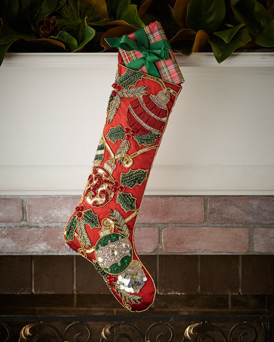 Kim Seybert Red & Green Collection Holiday Tidings Stocking