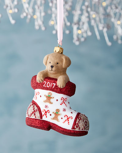 Charlie Dog in Boot Gingerbread Christmas Ornament