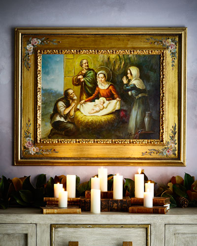 Nativity Painting in Floral Frame