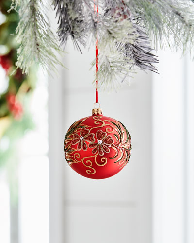 Red & Green Collection Matte Red/Beaded-Floral Ornament