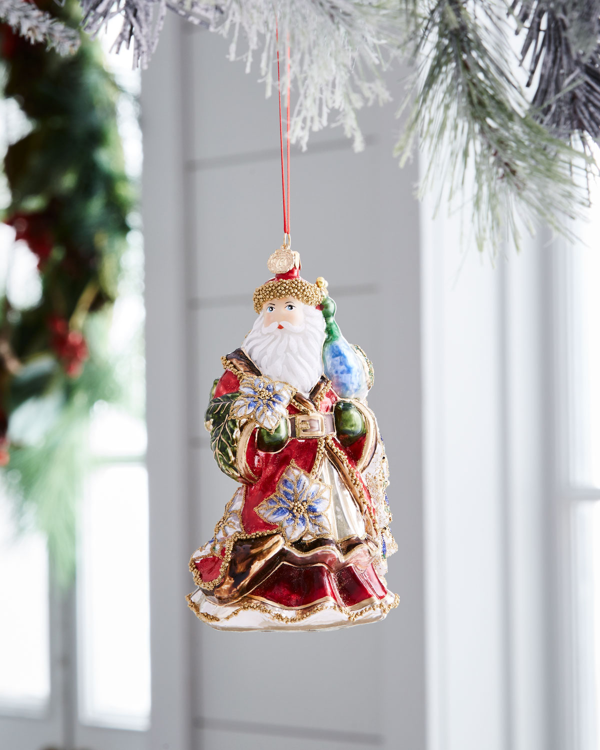 Red & Green Collection Santa with Peacock Ornament
