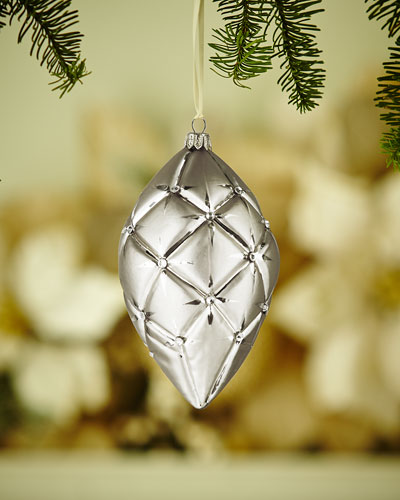 Gold & Glitter Collection Silvery Quilted Finial Ornament