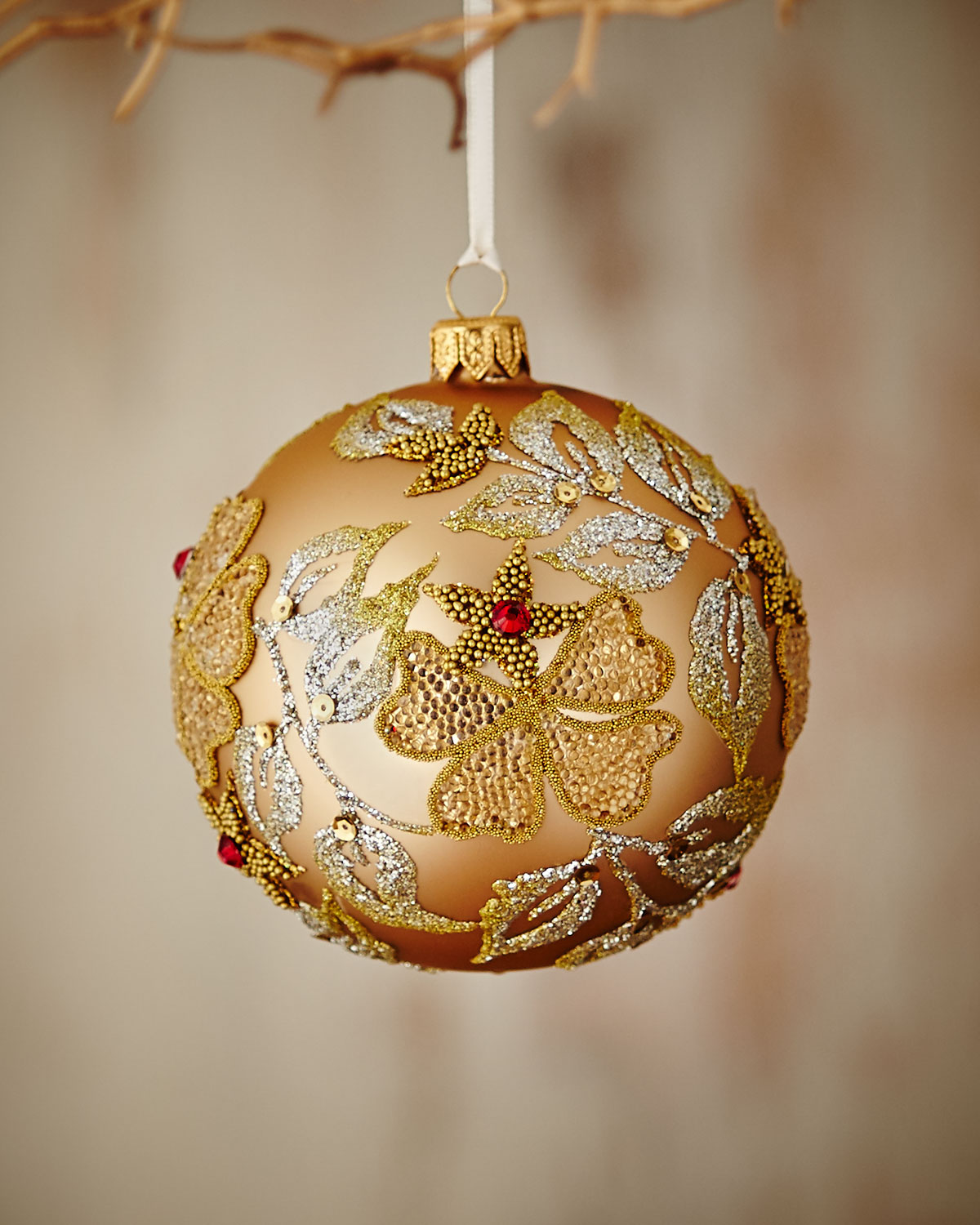 Gold & Glitter Collection Matte Golden/Beaded-Floral Ornament