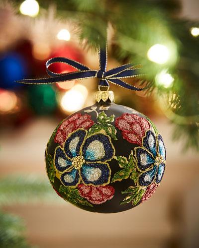Silverado Matte Navy / Beaded Floral Ornament