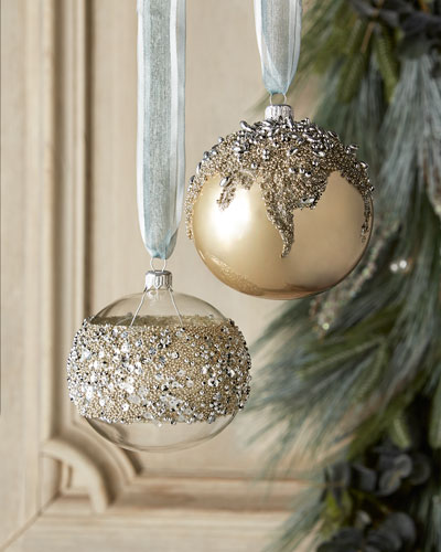 White & Silver Collection Clear/Silvery-Bead Ornament
