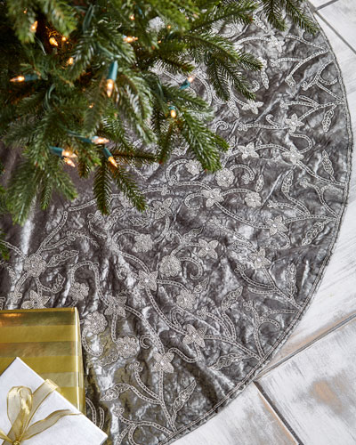 Sudha Pennathur White & Silver Collection Velvet 60 Tree Skirt