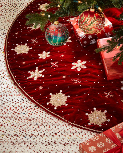 Sudha Pennathur Hand - embroidered Snowflakes Velvet Tree Skirt