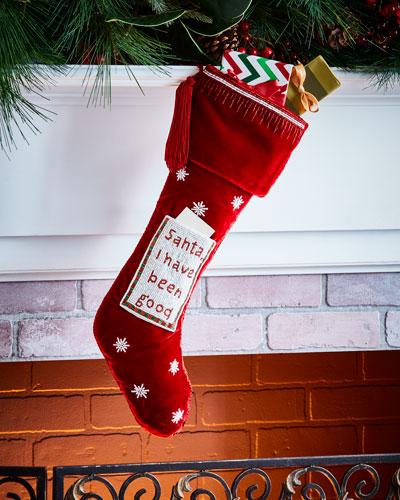 Sudha Pennathur Santa, I have been good Velvet Stocking