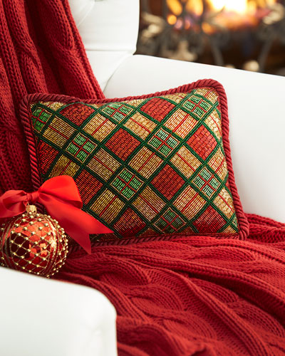 quick look sudha pennathur beaded plaid christmas pillow