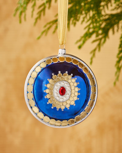 Faux-Jewel Medallion Disk Ornament