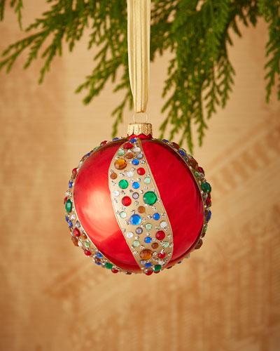 Shiny Faux - Jewel Swirl Ball Ornament