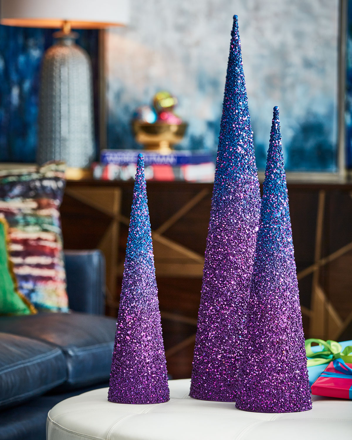 Playful Brights Collection Blue/Purple Glitter Christmas Trees, Set of 3