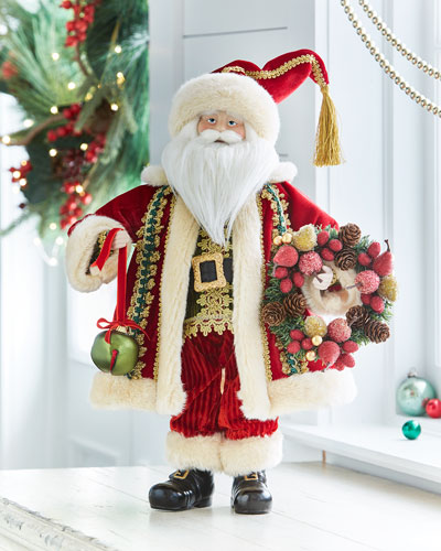 Santa with Fruit Wreath and Bell