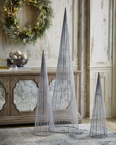 Silver Glitter Wire Christmas Trees, Set of 3