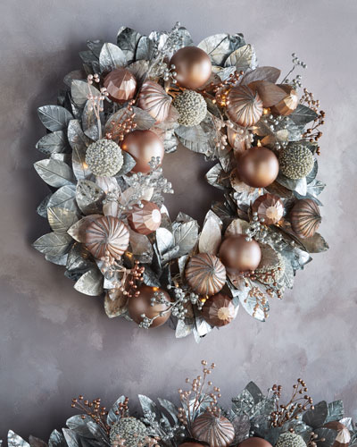 Blush & Pewter Collection Pre - Lit Wreath