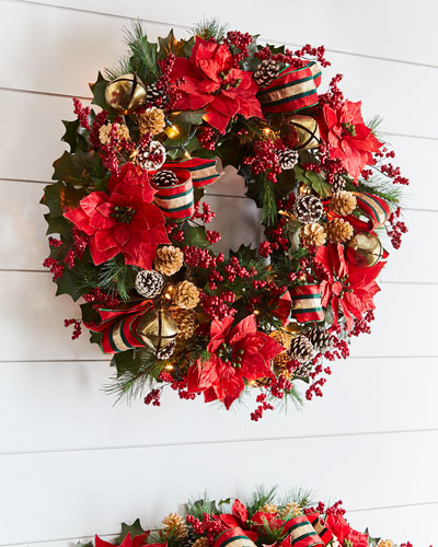 Red & Green Collection Pre - Lit Wreath